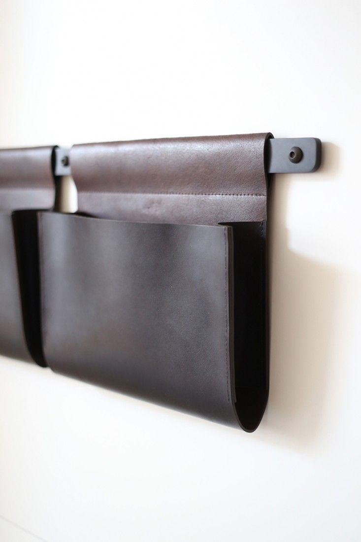 leather pockets by front door Henrybuilt Opencase leather bin  Remodelista