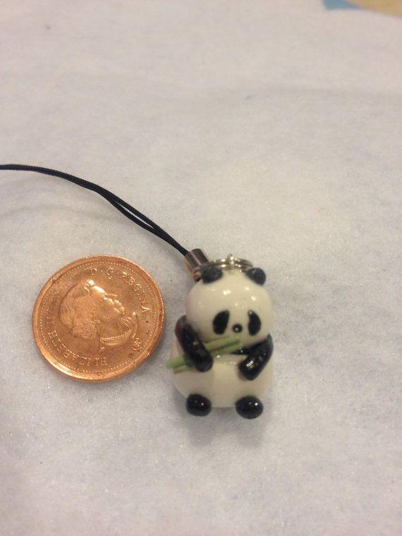 Polymer Sculpey Clay Charm Miniature China Panda with Bamboo. $5.00, via Etsy.