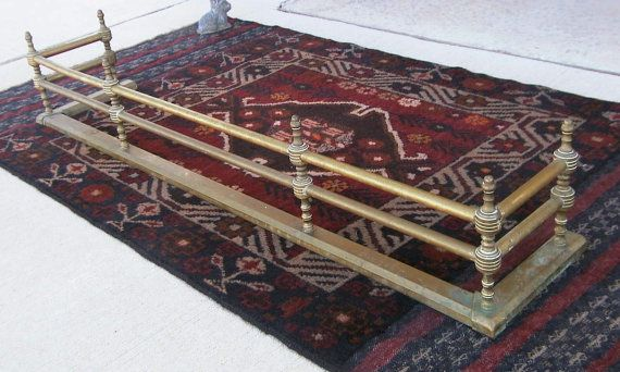 Antique Vintage Solid Brass 1930's Fireplace Hearth Fender / Fireplace Guard w/ Finials & Double Rails