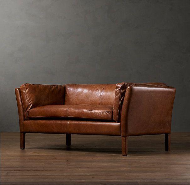 Restoration Hardware Black Leather Sorensen Sofa Black