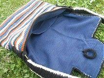 Kabelky - Háčkovaná taška Modro-hnedo-béžovo-čierna - 3894741_
