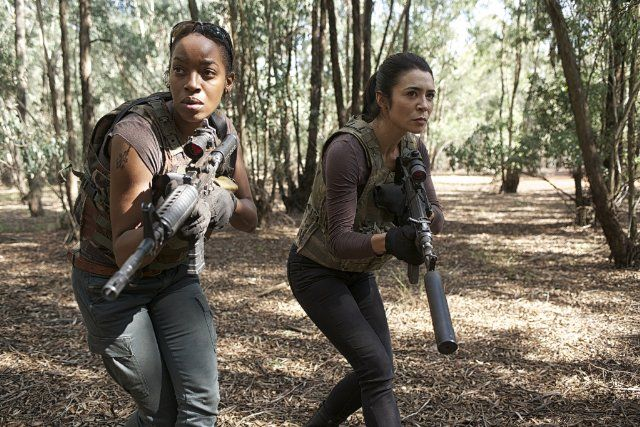"""Actresses Milauna Jackson and Michelle Lukes, appear here in the TV Series """"Strike Back"""", in 2013"""