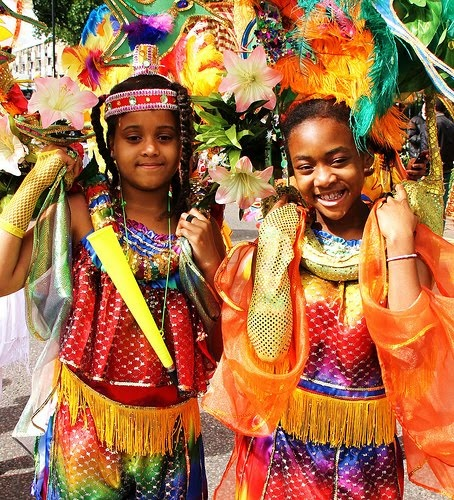 Even the kids had so much fun!!!.   NottingHill Carnival Children's day parade the beginning of the cascade of colour, music and movement on Sunday 26th August from 10am to 7pm.  The day young people meet the challenge to compete with their colourful costumes and magnificent choreography in the Junior Costume Competition which includes categories such as King, Queen and Best Band.
