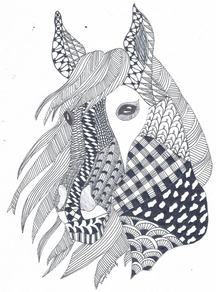 Horse zentangle I created for my father-in-law for Christmas 2013. Created by Sunny Tanner