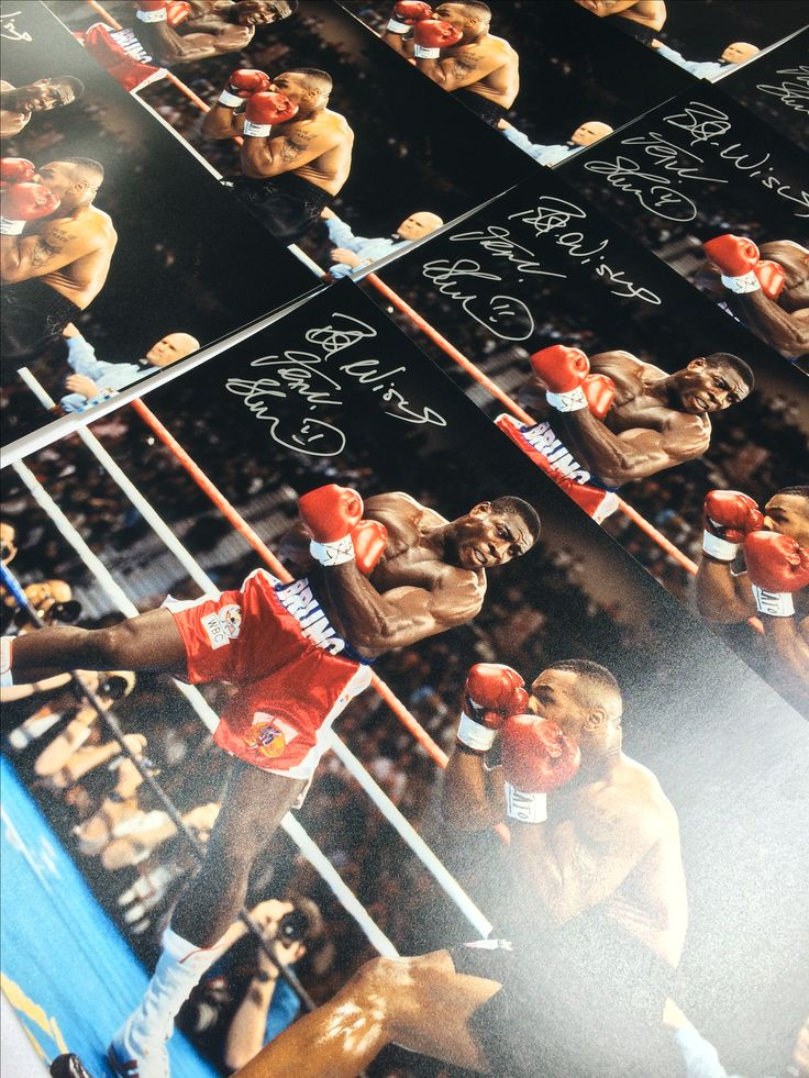 Frank Bruno signed boxing photo: Fighting Mike Tyson. Check out our official signing session video with Frank here.