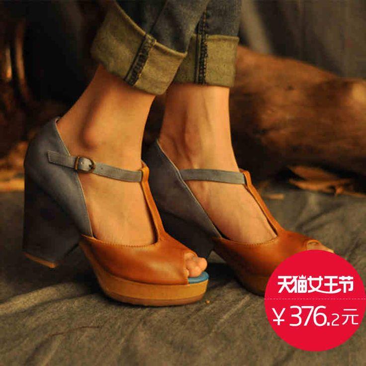 ARTMU Аму оригинальная милая леди рыба толстый с водонепроницаемыми кожаные сандалии голова заклинание цвет T-пряжки ботинок женщин я -tmall.com Lynx