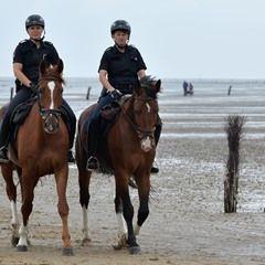 Mounted police patrol Cuxhaven-Sahlenburg beach