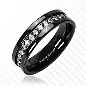 Black Solid Anium Traditional Eternity Wedding Ring Band This Features High Polished Finish With Sparkling Cubic Zirconia Gems All Around The