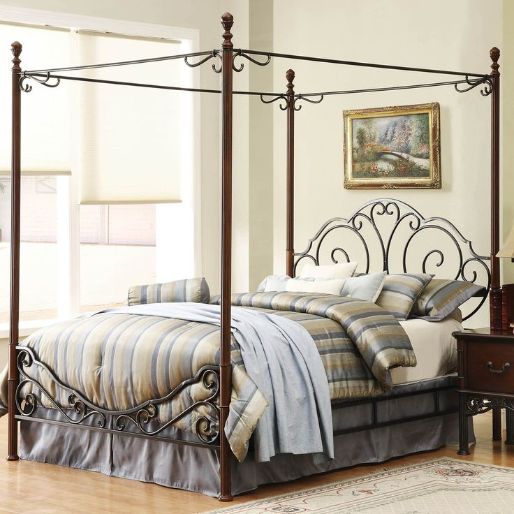 TRIBECCA HOME LeAnn Graceful Scroll Iron Metal Queen-sized Canopy Poster Bed | Overstock™ Shopping - Great Deals on Tribecca Home Beds