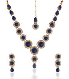 Buy Ethnic Indian Jewelry Bollywood Blue Circle Stone Diamentes Necklace Set b152 Necklace online