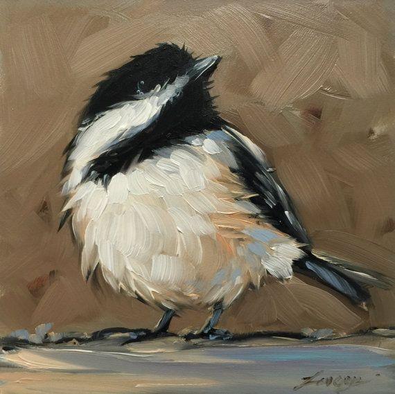 """Chickadee painting, Original impressionistic oil painting of a Chickadee, 4x4"""" on panel, bird art, birds"""