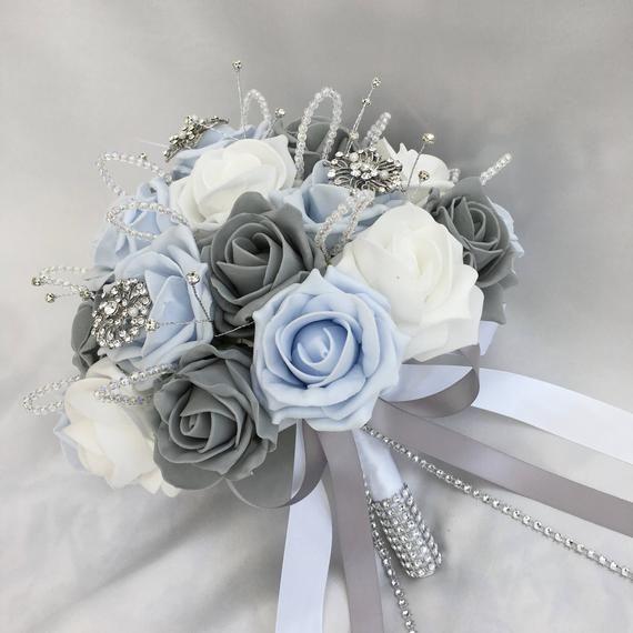 Artificial Wedding Flowers Brides Posy Bouquet With Baby Etsy Blue Wedding Flowers Baby Blue Weddings Baby Blue Wedding Theme