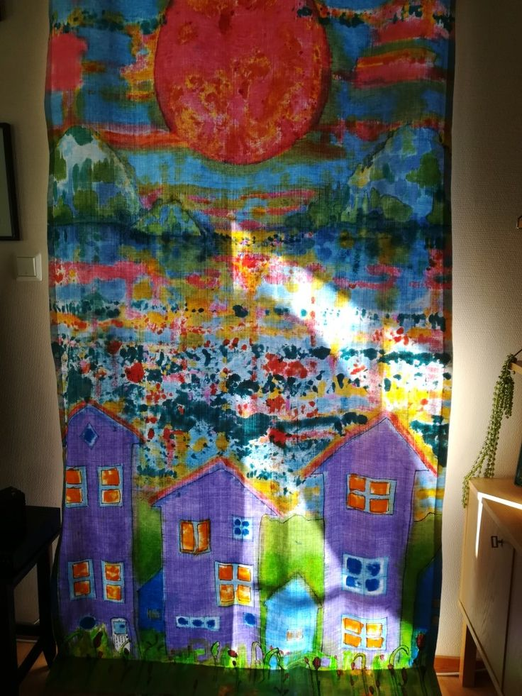 A single curtain painted with fabric paint
