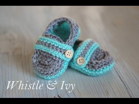 WHISTLE & IVY FREE VIDEO PATTERN AND TUTE ON CROCHET MONK STRAP BABY SHOES SOOOOOOOOOO CUTE!!!! Baby Shower, Gifts, Birth Gifts, Crochet