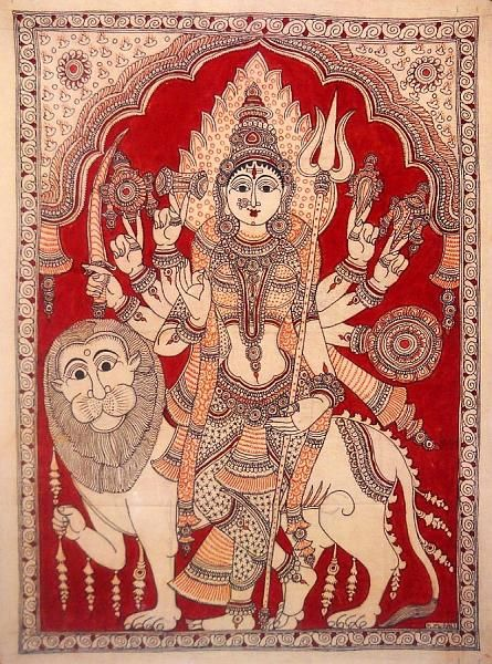 Indian Painting Styles...Kalamkari Paintings (Andhra Pradesh)-durga1-1-.jpg