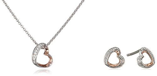 Esprit Essential Women's Jewellery Set Necklace Earrings it AROUND ENAMOUR - 925 Silver Rhodium-Plated Cubic Zirconia Crystal-Esse90991D420