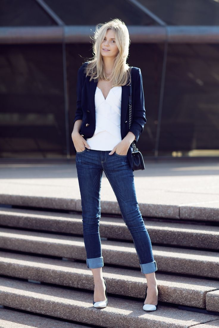 River Island Daisy jeans blazer and heels Camilla and Marc bustier top Chanel bag Jennifer ...