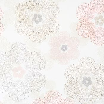 white and pink floral residential wallpaper R1901