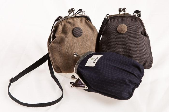 Handbags from Globe Hope made from recycled old suits.