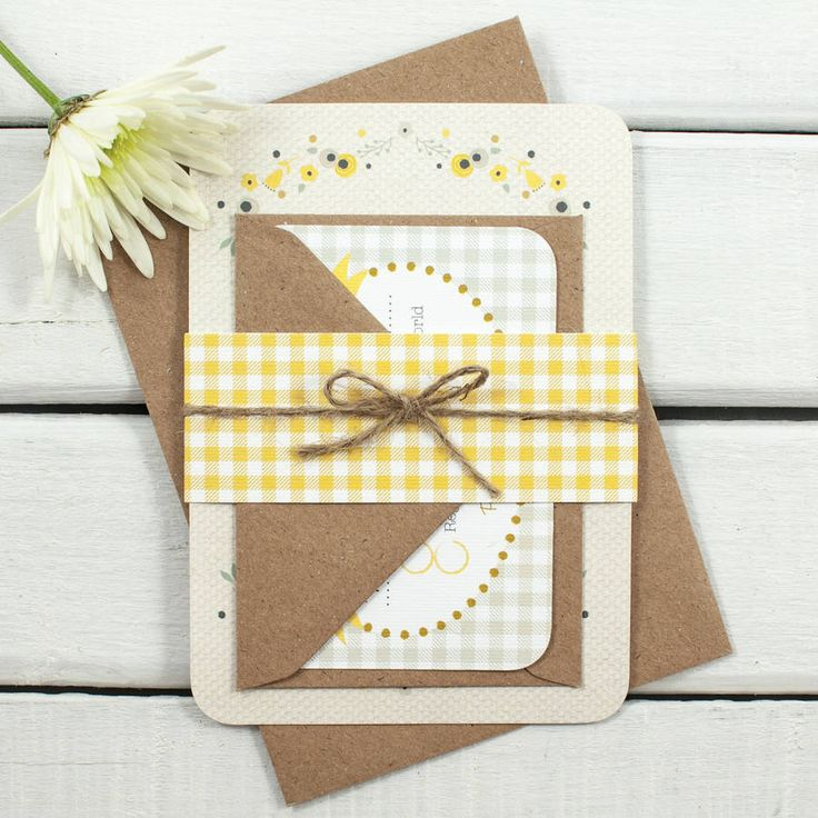 Floral Gingham Wedding Invitation Bundle