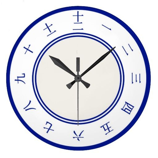 Chinese Numbers Clock #Chinese #round #wall #clock #blue #white