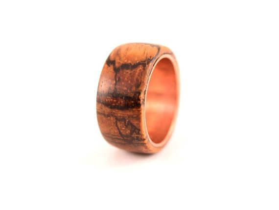 Zebra wood ring lined with copper by WoodenJewelryArt on Etsy