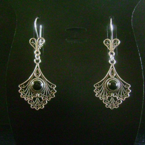 925 STERLING SILVER & BLACK ONYX ARTISAN FILIGREE DANGLE EARRINGS