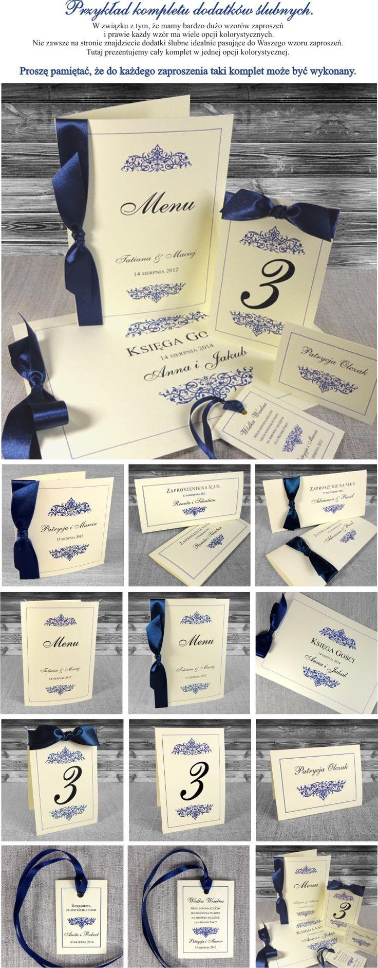 Zaproszenia ślubne Olivia - granatowe, papier ecru, eleganckie