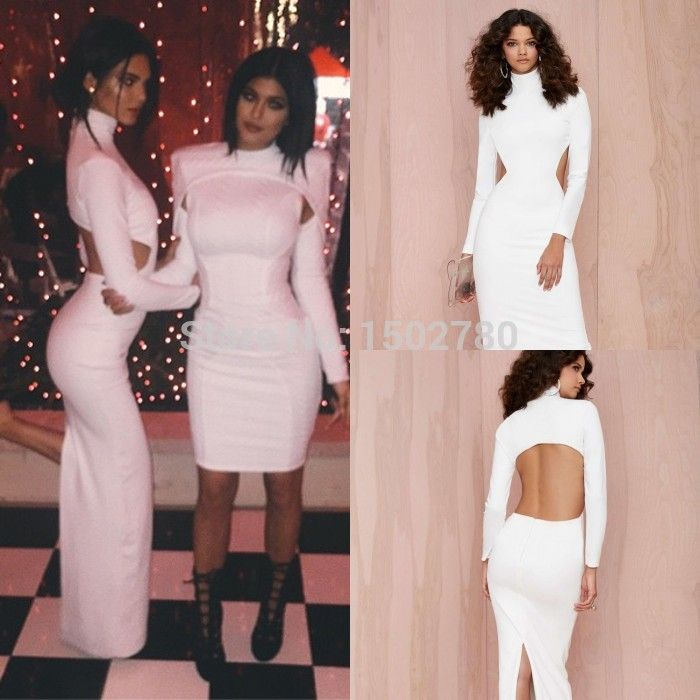 Cheap party dresses for women sale, Buy Quality dresses princess directly from China dresses long for party Suppliers: Kendall Jenner At Kardashian Christmas Party High Neck Open Back Long Sleeve Fitted White Celebrity Dress Size&