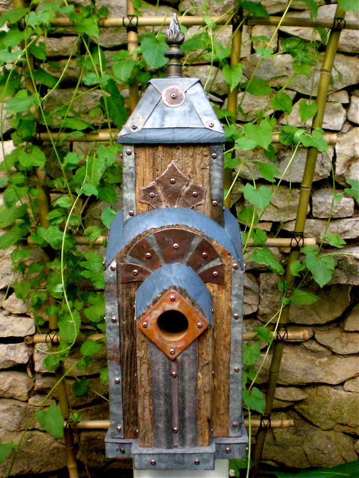 Art deco birdhouse made of reclaimed barn wood and tin for Reclaimed wood new york