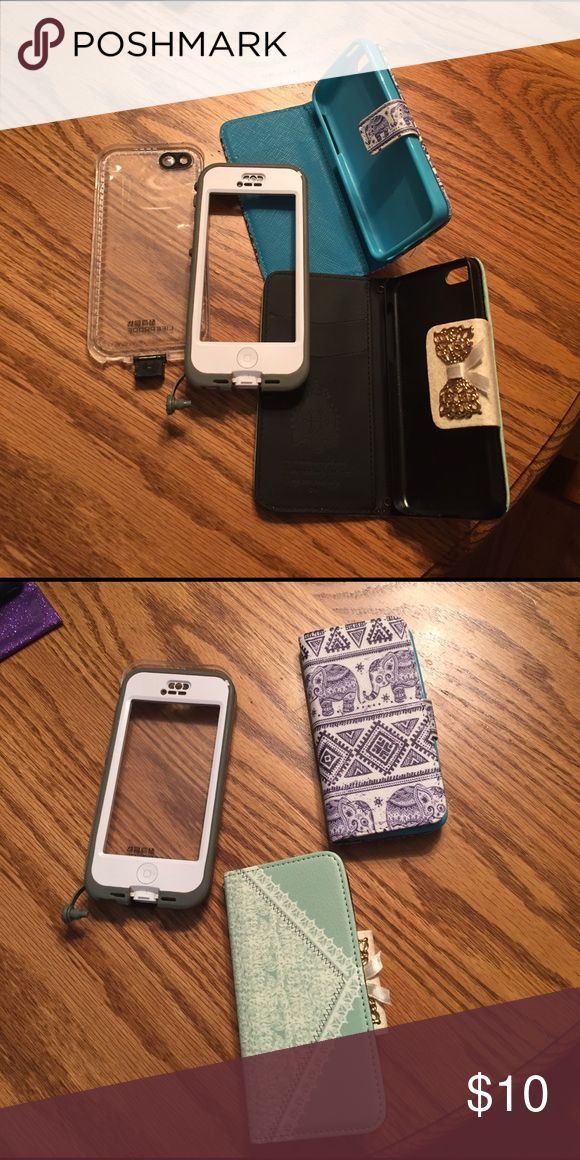 5c iPhone cases 1-life proof case, 1-elephant case that holds cards & 1-mint green case that holds cards life proof Accessories Phone Cases