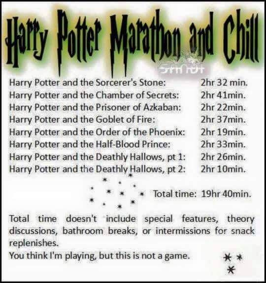 Harry potter marathon and chill