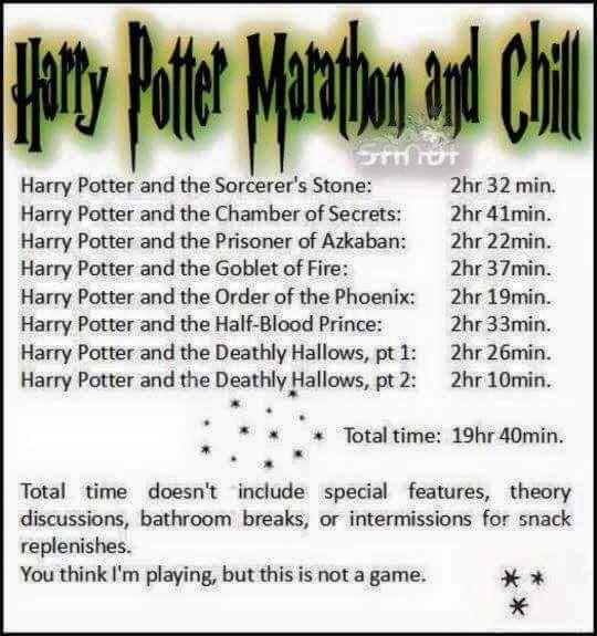 Harry potter marathon and chill