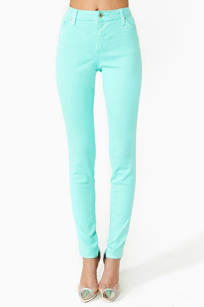 Stunner Skinny Jeans - Mint in Clothes at Nasty Gal