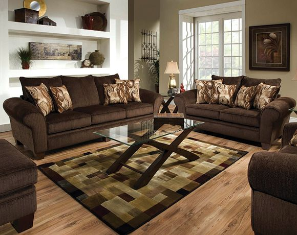 Godiva Chocolate Brown Sofa And Loveseat Set