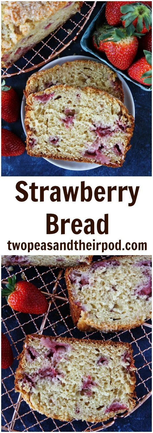 Strawberry Bread Recipe on twopeasandtheirpod.com This quick bread is made with fresh strawberries and is such a treat for spring!