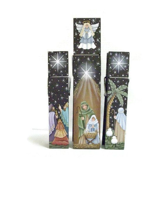 Hand Painted Nativity Scene On Three Large clothespins. New listing in Etsy shop by ToletallyPainted