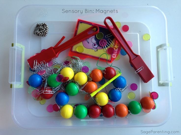 #SensoryBin : Magets: Magnet wands, balls, and discs purchased from Lakeshore. Add a glass of water and a shoe box for some fantastic science fun.