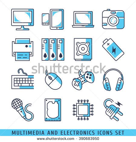 Multimedia and electronics icons set lines blue vector illustration - stock vector