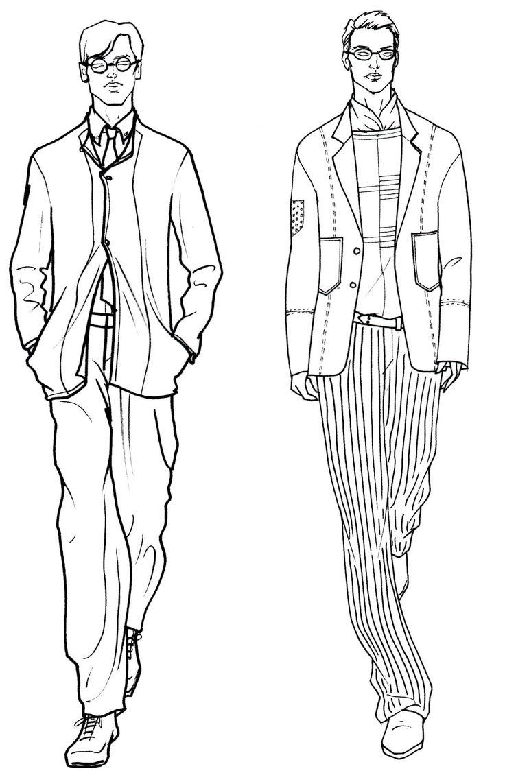 Картинки людей карандашом в одежде