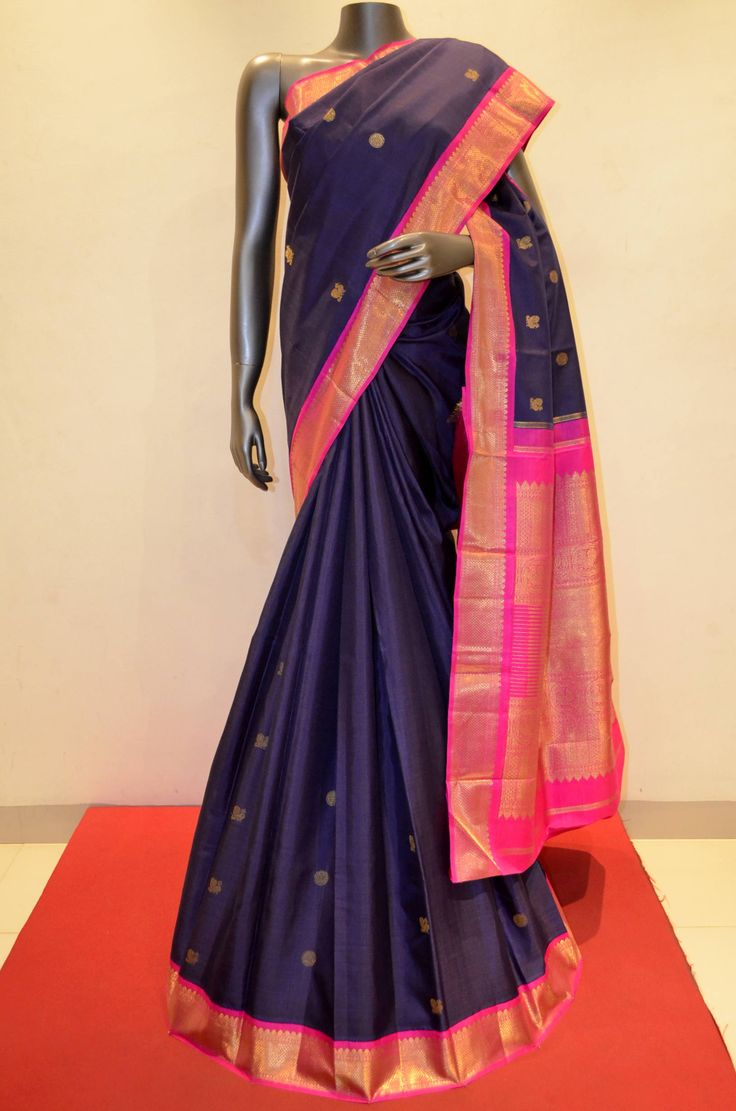 Contrast Navy Blue Traditional Kanjeevaram Silk Saree Product Code: AA200007 To View Our Exclusive Collections & Shopping Online Click Here: http://www.janardhanasilk.com/index.php?route=product/product&product_id=1466&search=AA200007