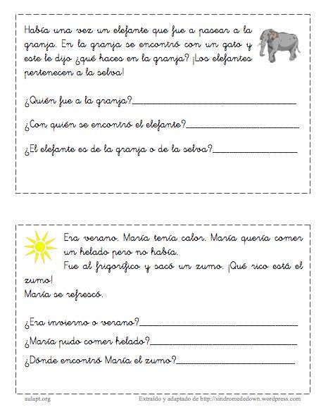 Cuentos Cortos Para Trabajar La ComprensióN Lectora 1º E.P.