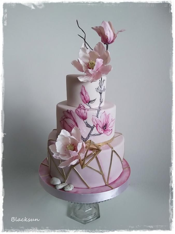 Wedding Cake With Magnolia Flowers By Blacksun Http Cakesdecor Com Cakes 316769 Wedding Cake With Magnolia Fl Magnolia Cake Floral Cake Pink Birthday Cakes