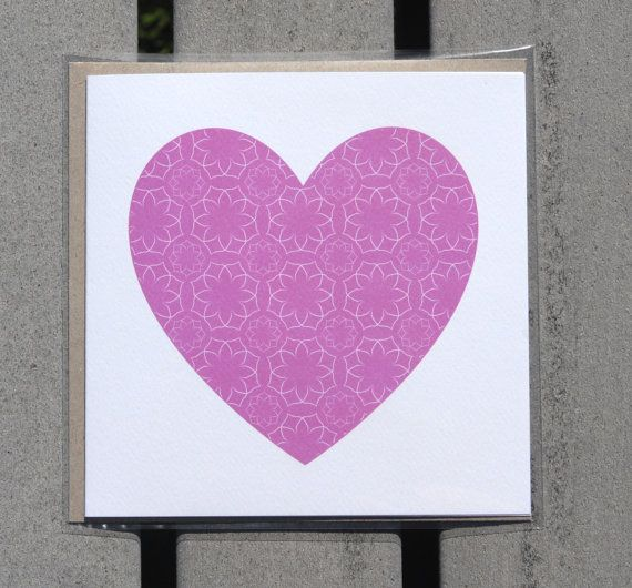 Greeting card with pink love heart by KatieMichelleDesigns on Etsy