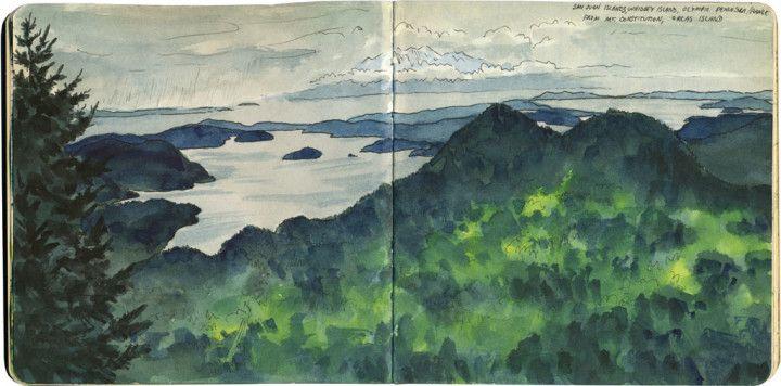 San Juan Islands sketch by Chandler O'Leary