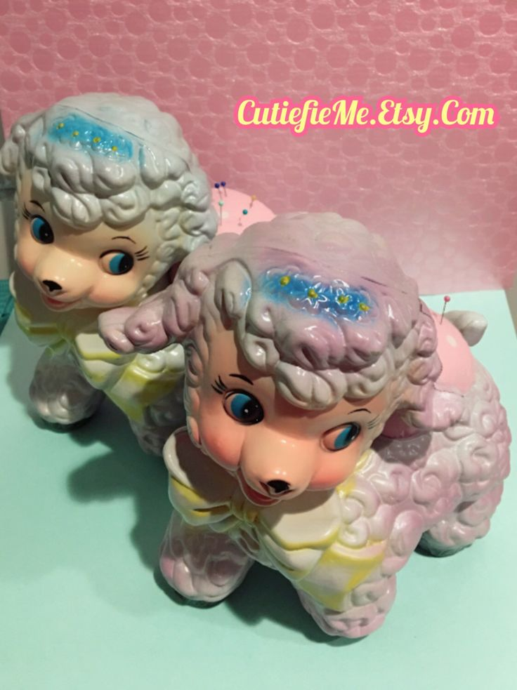A personal favorite from my Etsy shop https://www.etsy.com/listing/501283073/vintage-lamb-pin-cushion-plastic-planter