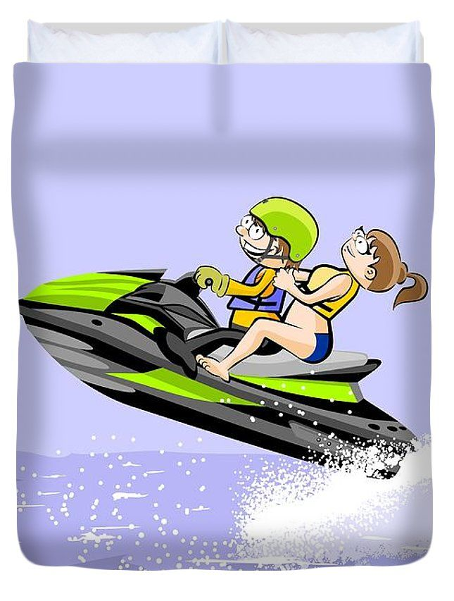 A Boy And His Girlfriend Sail And Have Fun On Their Jet Ski Duvet Cover For Sale By Daniel Ghioldi Duvet Covers Have Fun Fun
