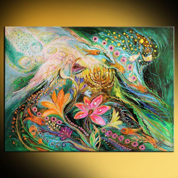 Jewish art original painting with Kabbalah by LenaKotliarker