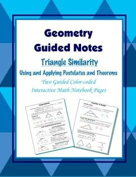 This is a set of two guided, color-coded notebook pages for the interactive math notebook on Triangle Similarity.Includes color-coded examples and diagrams on determining similarity and similarity ratios.Includes color-coded examples of the basic similarity postuate and theorems. (AA~, SAS~, and SSS~).Also includes proportions in triangles; The Side-splitter Theorem and Triangle-Angle-Bisector Theorem.And includes Perimeter and Areas of Similar Triangles.Blackline master and color-coded…