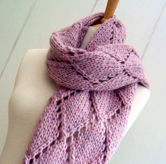 Complicated Knitting Patterns : Knitting Pattern for Easy Knit Diamond Lattice Scarf - The Diamond Trellis pa...